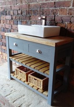 with solid oak worktop, two slatted shelves and 2 drawers. It is painted in chalky matt furniture paint and the top has been finished with worktop oil. we can do this vanity unit according to your design. Oak Bathroom, Rustic Vanity, Bathroom Vanity, Bathroom Inspiration, Trendy Bathroom, Bathroom Makeover, Small Bathroom Furniture, Rustic Bathrooms, Bathroom