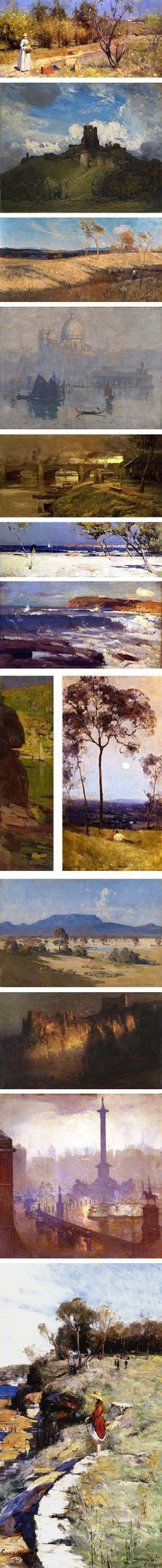 Arthur Streeton, Australian, late 19th and early 20th centuries; landscapes; official war artist during WW-1