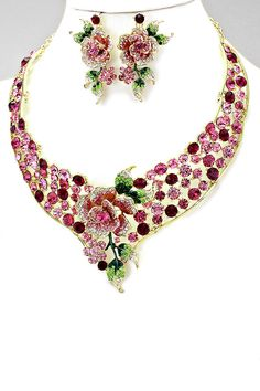 Crystal Rose Statement Necklace