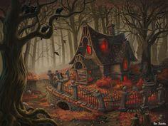 Nog zo'n geweldig (heksen)huis, waar ze van mij best een telpatroon voor kruissteek van mogen maken...