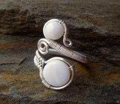 Wire Wrapped jewelry handmade / silver plated / wire jewelry / adjustable ring / Mother of pearl ring /