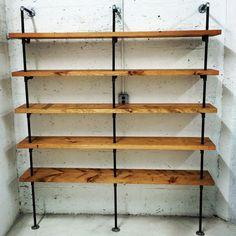 Black pipe steel and wood shelving built to order por SoilandOak