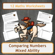 Over 100 questions on 12 sheets covering comparing single digit numbers up to 6 digit numbers. Worksheets cover a range of difficulties and even include questions with decimals. This bundle contains 3 Cowboy themed worksheets filled with word problems!Suitable for Elementary school students (US) and Primary school students (UK).Includes both colour and black and white copies of each worksheet and each answer page!Inside you will find1 sheet of Cowboy themed word problems on comparing…