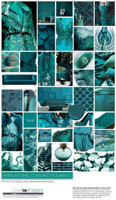 Shades of teal Paper Collage Art, Mood And Tone, Mood Colors, Shades Of Teal, Marca Personal, Ocean Themes, Colour Board, Elements Of Art, Cool Pools