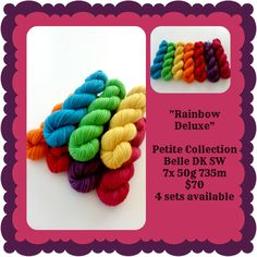 Rainbow Deluxe Petite Collection   Red Riding Hood Yarns Pink Purple, Teal, Blue, Ribbon Yarn, Yellow And Brown, Red Riding Hood, Yarns, Crochet Necklace, Collections