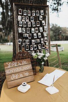 Polaroid wedding - Marcus+Kristin John's Florida wedding – Polaroid wedding Diy Wedding Photo Booth, Diy Photo Booth, Poloroid Photo Booth, Photobooth Wedding Ideas, Rustic Photo Booth, Wedding Photo Table, Picture Booth, Picture Table, Photo Booth Backdrop