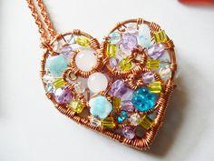 Collana con ciondolo a cuore porta fotografie realizzato a mano con filo di rame
