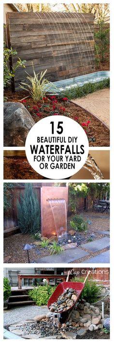 15 Beautiful DIY Waterfalls for Your Yard or Garden. #HTL #waterfall #landscape