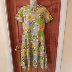 Vintage 1960s Mod Floral Barkcloth Dress Hawaiian Aloha Sz M-L Homemade? #Homemade #Hawaiian #Casual