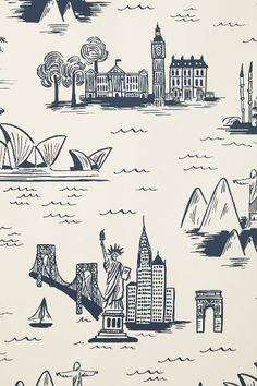 Cities Toile Wallpaper - anthropologie.com