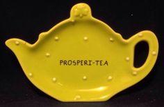 "Grasslands Road Tea Bag Holder Ceramic Prosperi - Tea Green 5"" W x 4"" T Caddy"