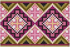 Discover thousands of images about Bunad, Smykker, vev & rosemaling: Kvarde korssting mønster Peyote Patterns, Loom Patterns, Beading Patterns, Cross Stitch Borders, Cross Stitching, Cross Stitch Patterns, Crochet Chart, Filet Crochet, Diy Embroidery