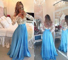 Long Sleeves Ice Blue Prom Dresses,Open Back Lace Evening Dresses 2016 http://www.bonanza.com/listings/Long-Sleeves-Ice-Blue-Prom-Dresses-Open-Back-Lace-Evening-Dresses-2016/324743186