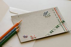 hand-embroidered note cards via Design*Sponge