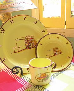 Monterey Western Ware, by lorimarsha on Flickr. Enamelware made in Mexico, circa 1950s.
