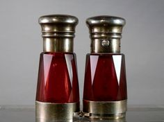 Antique Red Glass Scent Bottle. Rare Opera Glasses style. 1800s. on Etsy, $415.00