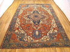 "Persian: Geometric 15' 0"" x 10' 1"" Antique Persian Serapi at Persian Gallery New York - Antique Decorative Carpets & Period Tapestries"