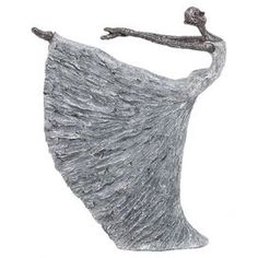 """Showcasing a silver finish and dancer silhouette, this eye-catching decor brings artful appeal to your home office or library.  Product: StatuetteConstruction Material: PolystoneColor: SilverFeatures: Dancer silhouetteDimensions: 16"""" H x 12"""" W x 3"""" D"""
