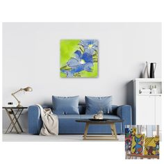 Flowerly Blues - Flowerly Abstracts - Square Art - Wall Art Prints - Digital Downloadable Prints #Square #Green #Blue #Flowers Printing Services, Online Printing, Wall Art Prints, Fine Art Prints, Square Art, Types Of Printer, Home Printers, Blue Flowers, Decorating Your Home