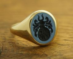 CUSTOM OVAL SIGNET RING, STONE 12x10 MM  Custom Oval Signet Ring with hand engraved Semi Precious Gem Stone, size 12x10mm. The stone can be Custom Signet Ring, Ring Bear, Gold And Silver Rings, Family Jewels, Family Crest, Monogram Initials, Hand Engraving, Snake, Jewelry Design