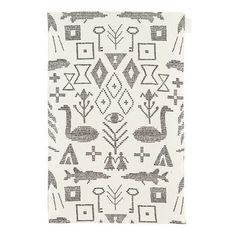 """Maailman synty tea towel/placemat by Saana ja Olli features a print inspired by old Finnish wall rug traditions. An illustration of ancient creation myths, Maailman synty (""""The Birth of the World"""") features a graphic pattern formed by symbols and figures. Creation Myth, White P, Large White, Hemp Fabric, Scandinavian Home, Graphic Patterns, Graphic Design, Goods And Services, Tea Towels"""