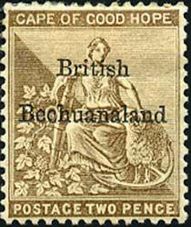 Первые почтовые марки на территории Бечуаналенда начали выпускать в 1885 году. Для из изготовления использовались доступные марки Великобритании и британской Капской колонии (Мыс Доброй Надежды), на которых делали надпечатку BRITISH   BECHUANALAND (Британский Бечуаналенд).