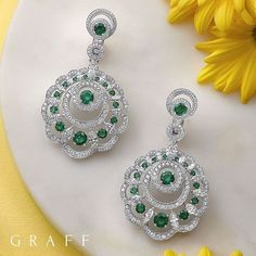 The circular form of the sun and the rays that emanate from it have inspired Graff Diamonds' new Sunburst collection. Emerald Earrings, Emerald Jewelry, High Jewelry, Silver Jewelry, Stud Earrings, Graff Jewelry, Luxury Jewelry, Jewelry Rings, Emerald Diamond