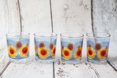 Set Of 4 Retro Reims Sun Shot Glasses  Made in by TheRetroEdit