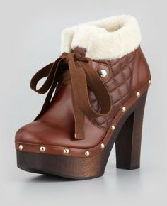 Red Valentino ~ Quiltednapa Furcollar Boot Brown