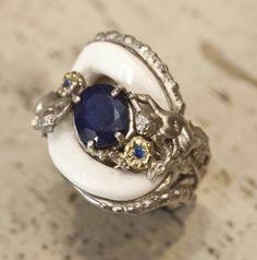 Navy blue and white #jewlery #rings #gioielli #giuseppinafermi #accesories #madeinitaly