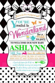 Alice in Wonderland Baby Shower Birthday CUSTOM digital invitation :: My Heart Has Ears