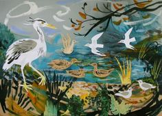 """""""Tales from the Riverbank"""" by Mark Hearld (collage)"""