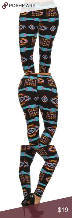 Plus Size Navajo Print Leggings Plus Size Tribal Print Leggings, high waisted, full length, leggings 92% Poly 8% Spandex  One Size Fits: XL, 2XL, 3XL  Stay Sexy! Red Ribbon Pants Leggings