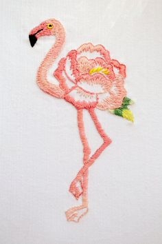 Hand embroidery pattern, Modern hand embroidery patterns, flamingo embroidery, floral embroidery, flower embroidery - Floralmingo Pink Flamingo is a symbol of grace, elegance, exquisite romantic love, the strength of family life and emotional balance. By creating this design I was inspired by Japanese embroidery. Embroidery can seem daunting for beginners, but is perfect for improving the skills of embroidery. I suggest detailed scheme of embroidery and a few high-quality photos to explor...