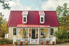 Little yellow cottage with red metal roof - White Plains Plan #1799 - 17 Pretty House Plans with Porches - Southern Living