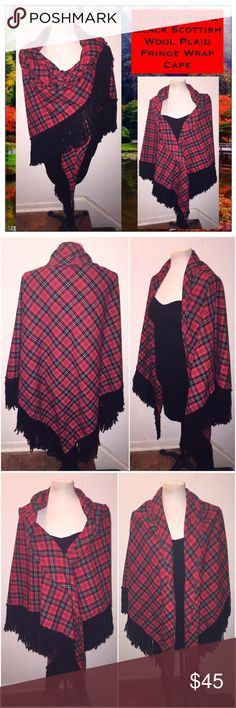 "VTG Red & Blk Scottish Wool Plaid Fringe Wrap Cape Vintage Red & Black Scottish Wool Plaid Fringe Wrap Cape! Lovely vintage piece measures 90"" end to end, 48"" down back & 6"" long fringe. No rips, tears nor any offensive odors. VG condition. One Size Fits All. Offers welcomed! Vintage Accessories Scarves & Wraps"