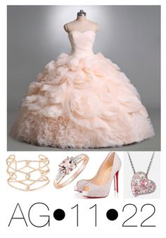 """""""Getting ready for prom"""" by ag1122 ❤ liked on Polyvore featuring Alexis Bittar, Christian Louboutin, Swarovski, PromDress and onfleek"""