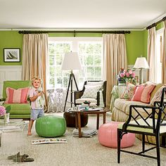 pink + green! Wall color for playroom, have a tan couch, and pink and green striped curtains!
