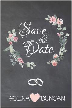 Moderne save the date kaart met chalkboard ondergrond. Versierd met bloemenkrans, ringen en hartjes. Alles staat los op dit kaartje en is aan te passen. Gratis verzending in Nederland en België.