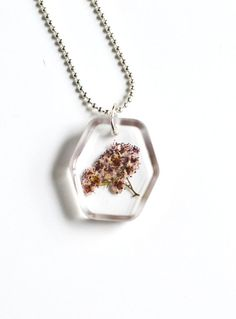 Real Plant Necklace Real spirea in Resin Jewelry by LOVEnLAVISH, $15.00