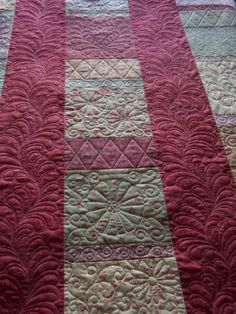 I like the diamonds in the sashing. You could make them any width so they fit perfectly! Machine Quilting Patterns, Quilting Templates, Longarm Quilting, Free Motion Quilting, Quilting Tutorials, Quilting Ideas, Quilting Designs, Quilt Patterns, Quilt Stitching