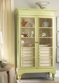 display gorgeous armoire/ library bookshelf with glass doors love painted pale green wood