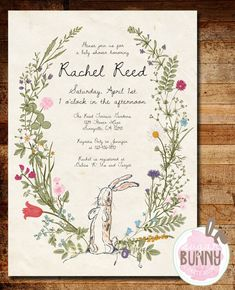 Printable The Velveteen Rabbit Baby Shower by SugarBunnyPartyShop