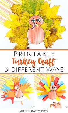 Looking for printable turkey crafts for kids to make at home or at preschool? This printable turkey craft for kids template can be used for 3 different craft projects and is so simple for children to use. Find out how to make a paper plate leaf turkey craft for kids + other paper plate and popsicle stick turkey crafts for kids using the template here! (Link is for turkey leaf craft for kids) Printable Thanksgiving Crafts for Kids Turkey   Thanksgiving Turkey Crafts for Kids   Craft Templates Easy Arts And Crafts, Crafts For Kids To Make, Craft Activities For Kids, Preschool Crafts, Kids Crafts, Craft Projects, Kindergarten Thanksgiving Crafts, Thanksgiving Crafts For Toddlers, Thanksgiving Turkey