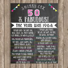 Items similar to Custom Chalkboard Printable Adult Birthday Sign - Birthday - Milestone Birthday on Etsy Moms 50th Birthday, 70th Birthday Parties, Adult Birthday Party, 50th Party, Birthday Board, Birthday Ideas, Birthday Signs, Fabulous Birthday, Milestone Birthdays