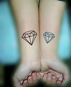 InknArt Temporary Tattoo - 2pcs Diamond Gemstone set wrist quote tattoo body sticker fake tattoo wedding tattoo small tattoo