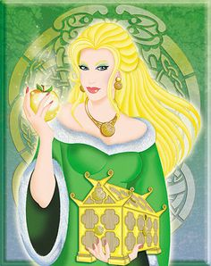 Idunn the Beautiful was the norse goddess of youth, immortality and springtime. Her husband was the god Bragi, her father was Ivaldi the Earth Dwarf, her mother was Sol the Sun and her three sisters were the Valkyries: Allvit, Swanvit and Obrun.