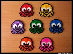 Colorful octopuses hama beads by Perler Bead Designs, Perler Bead Templates, Hama Beads Design, Diy Perler Beads, Pearler Bead Patterns, Perler Bead Art, Perler Patterns, Pearler Beads, Hama Bead Boards