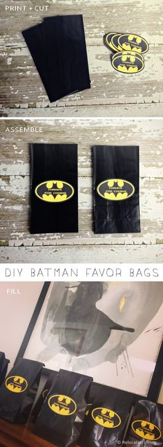 DIY Batman Favor Goodie Bags
