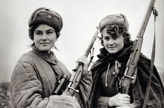 Members of a resistance movement called Soviet Partisans which fought a guerrilla war against the Axis occupation of the Soviet Union during World War II.
